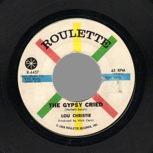 LOU CHRISTIE - The Gypsy Cried / Red Sails In The Sunset - 45T (SP 2 titres)