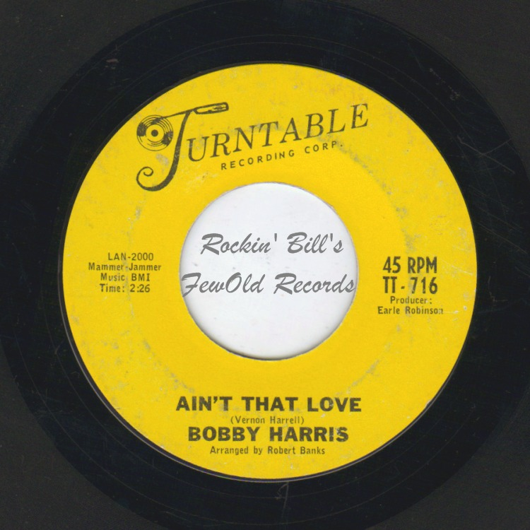 BOBBY HARRIS - Ain't That Love / Lonely Intruder - 45T (SP 2 titres)