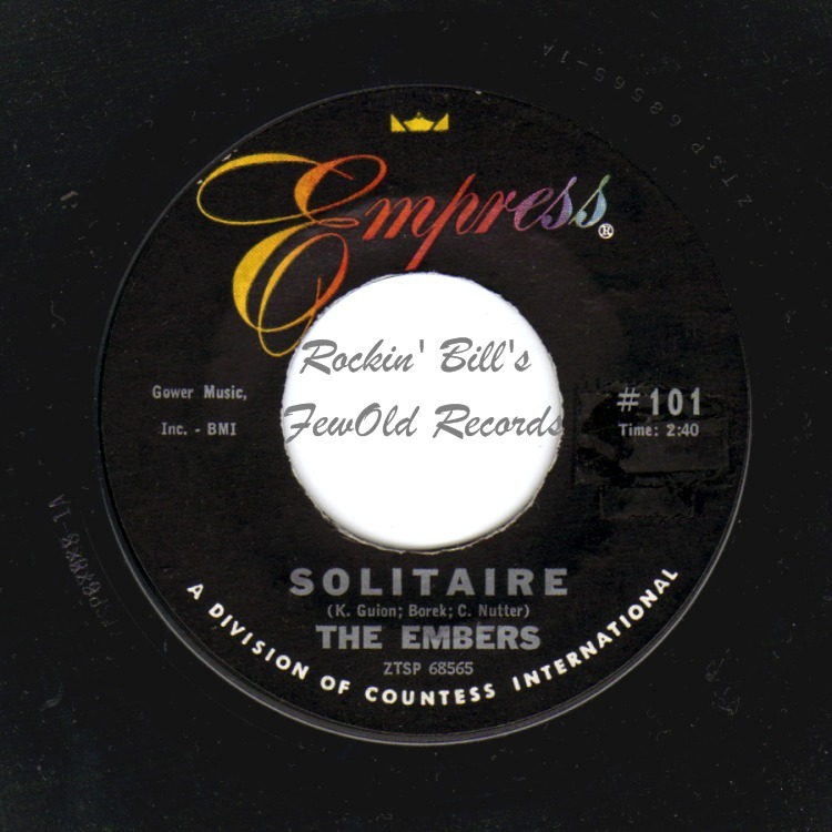 THE EMBERS - Solitaire / I'm Feeling All Right Again - 45T x 1