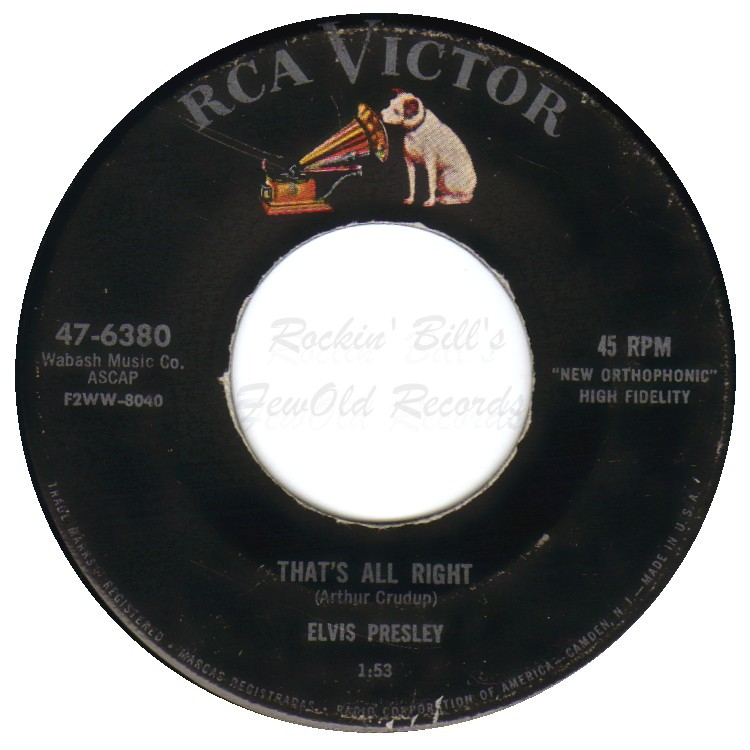 ELVIS PRESLEY - That's All Right / Blue Moon Of Kentucky - 45T (SP 2 titres)
