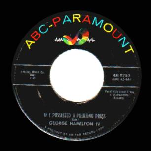 George Hamilton Iv - Only One Love / If I Possessed A Printing Press